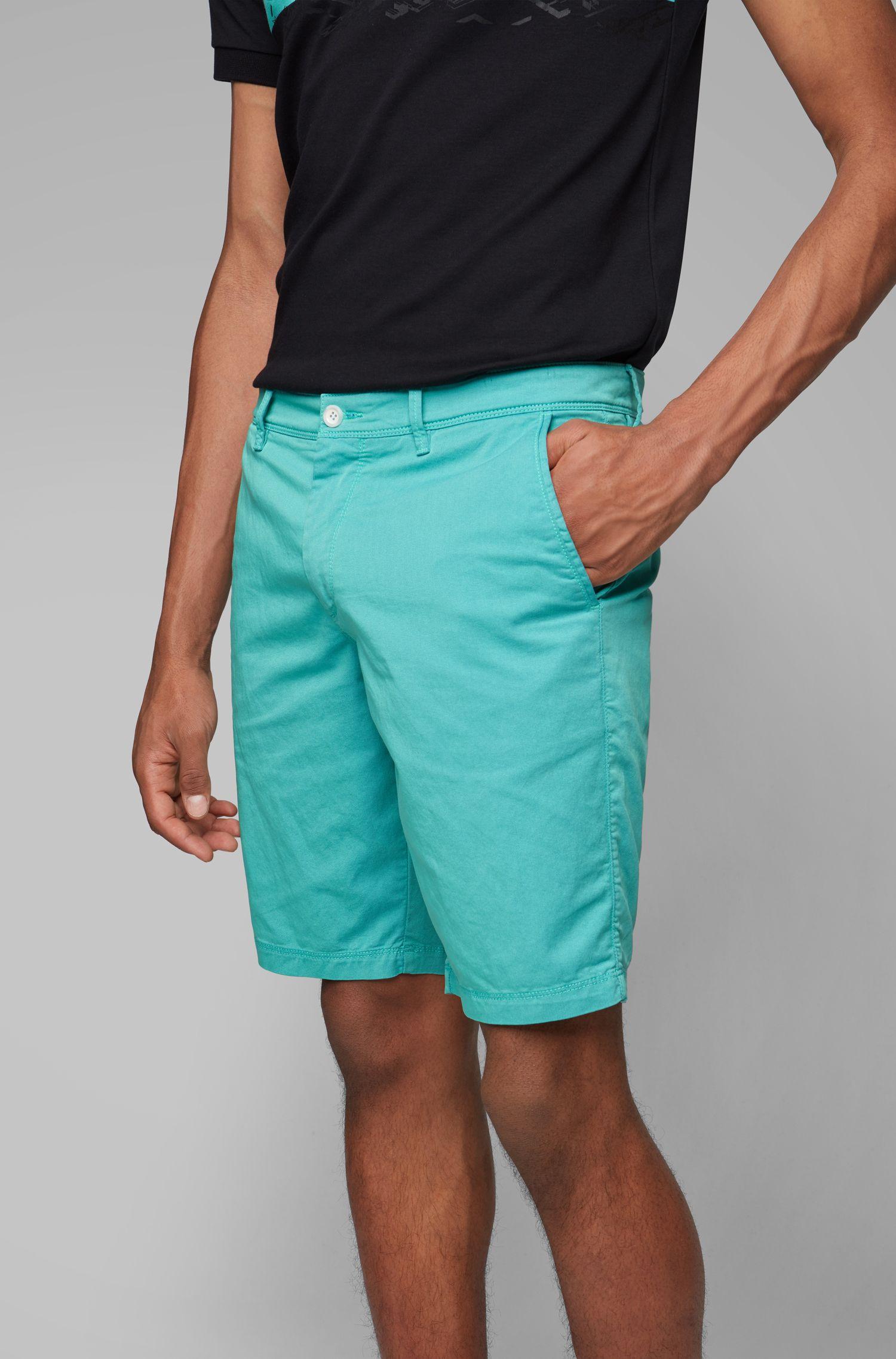 Pantaloncini slim fit in twill bicolore italiano, Calce