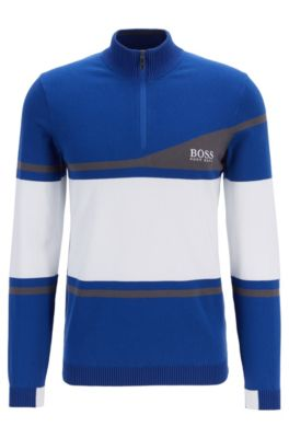 Martin Kaymer colour-block sweater with water-repellent finish, Blue