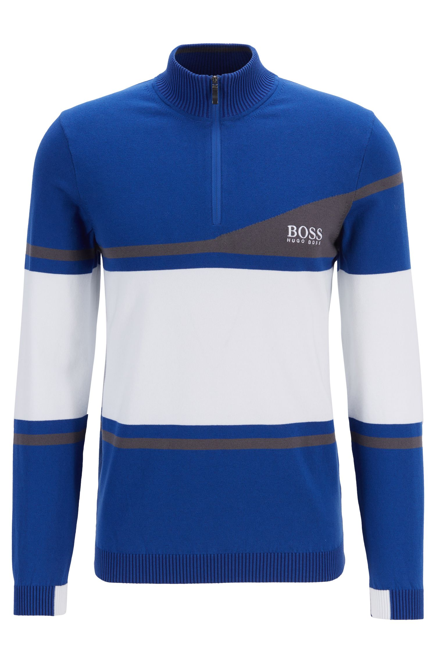 Martin Kaymer Pullover in Colour-Block-Optik mit wasserabweisendem Finish, Blau