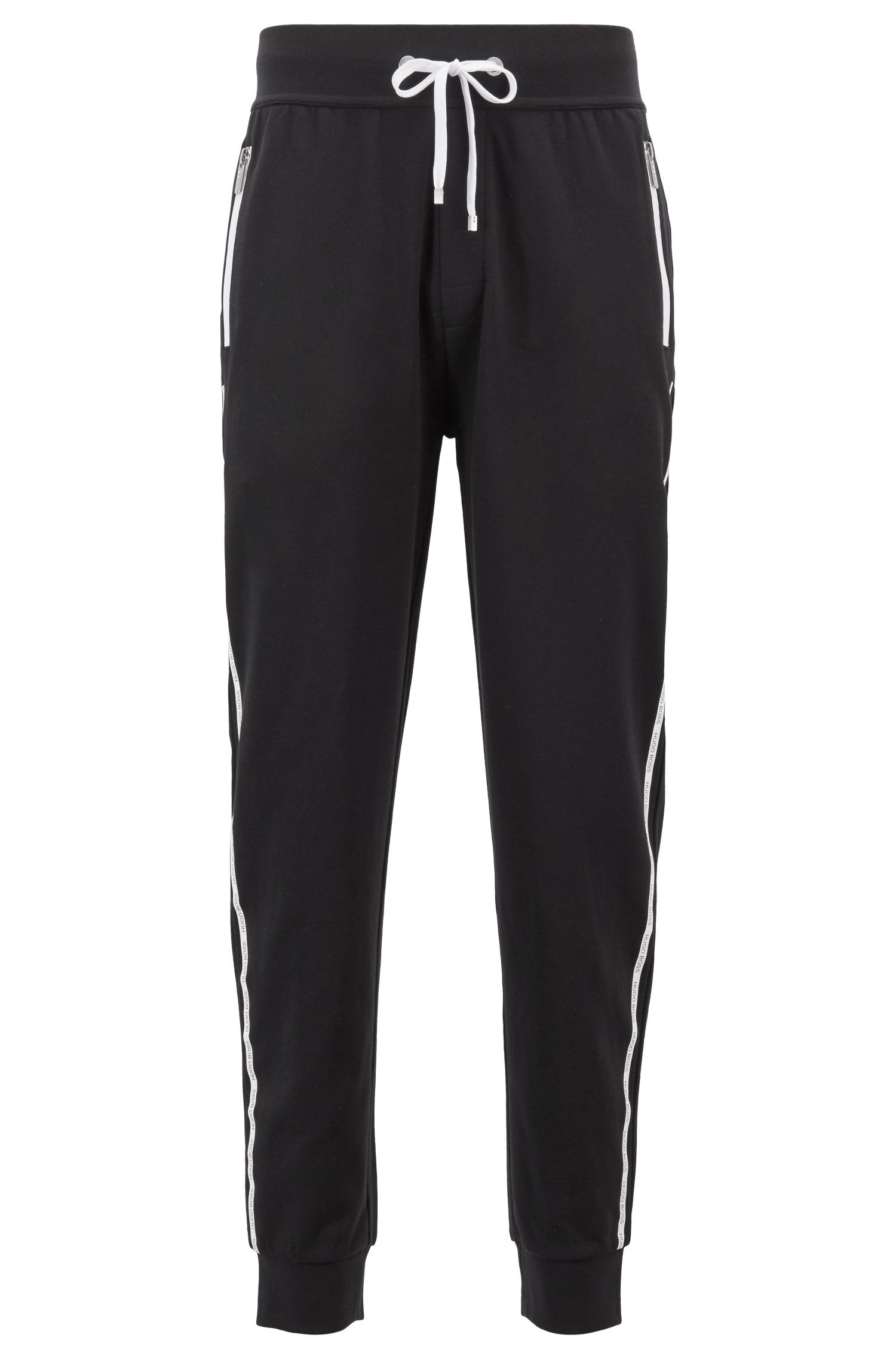 Knitted loungewear trousers with logo-tape side seams, Black