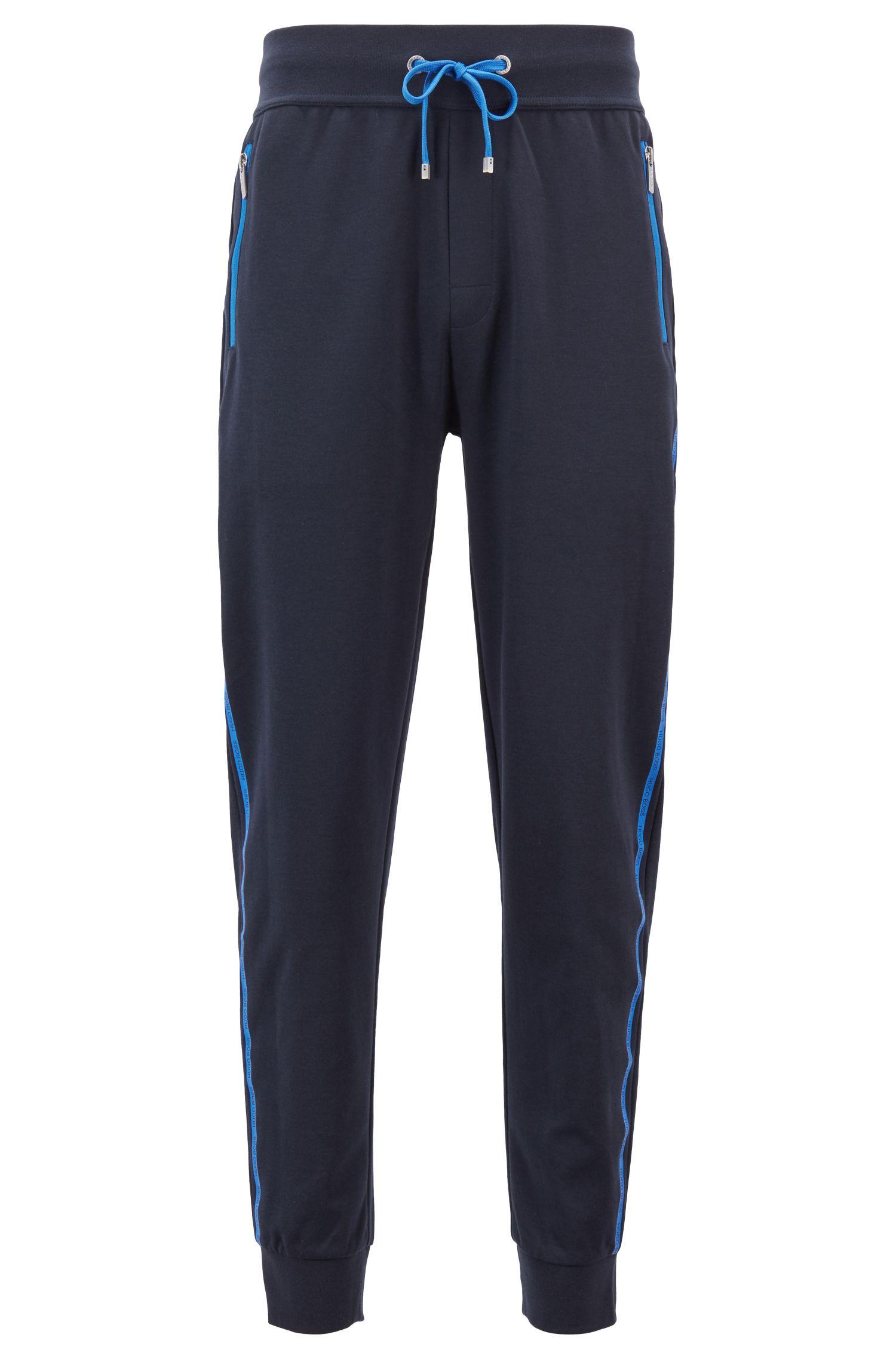 Gestrickte Loungewear-Hose mit Logo-Tape an der Seiten-Naht, Dunkelblau