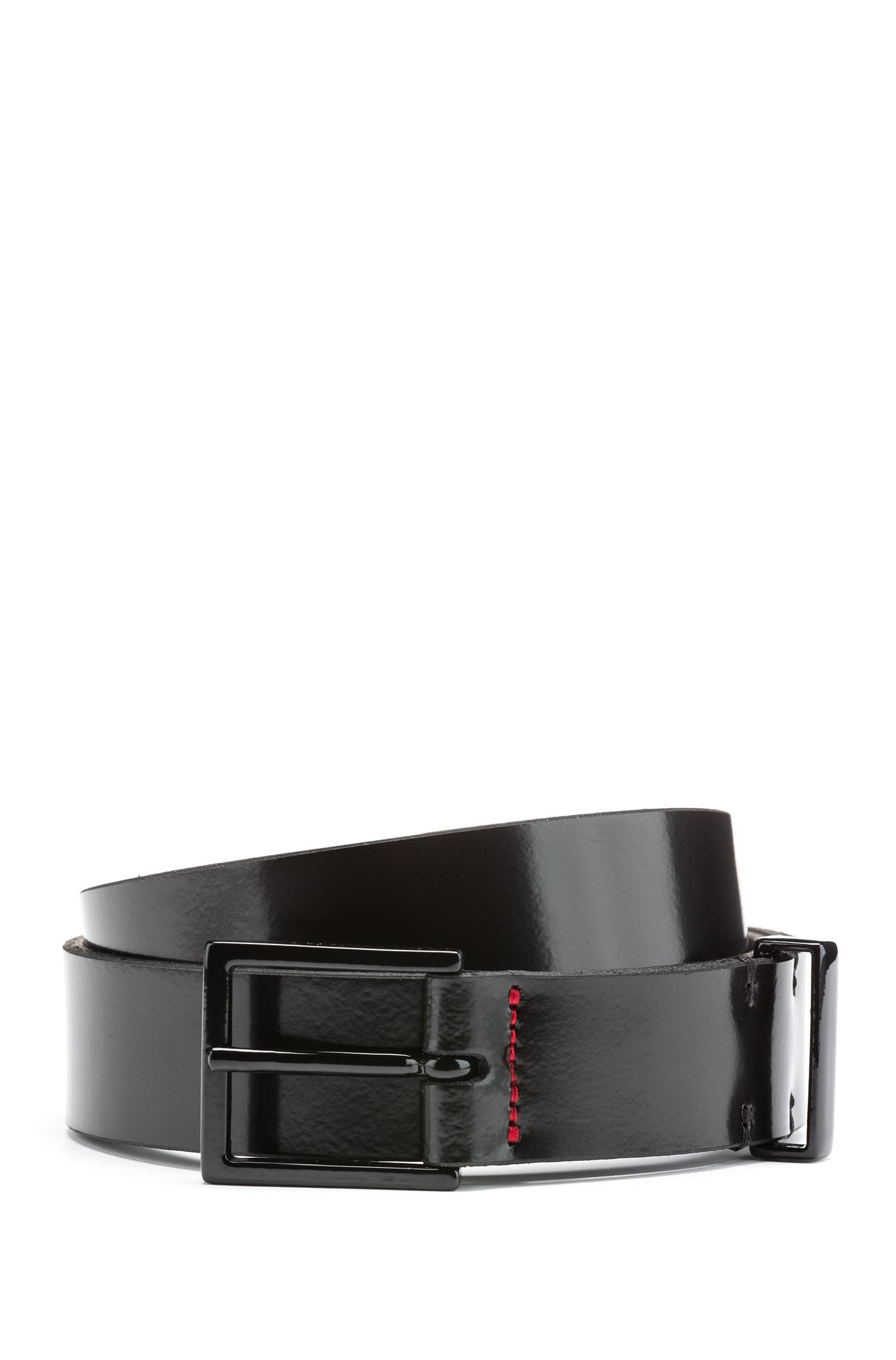 Smooth-leather belt with black-varnished hardware, Black