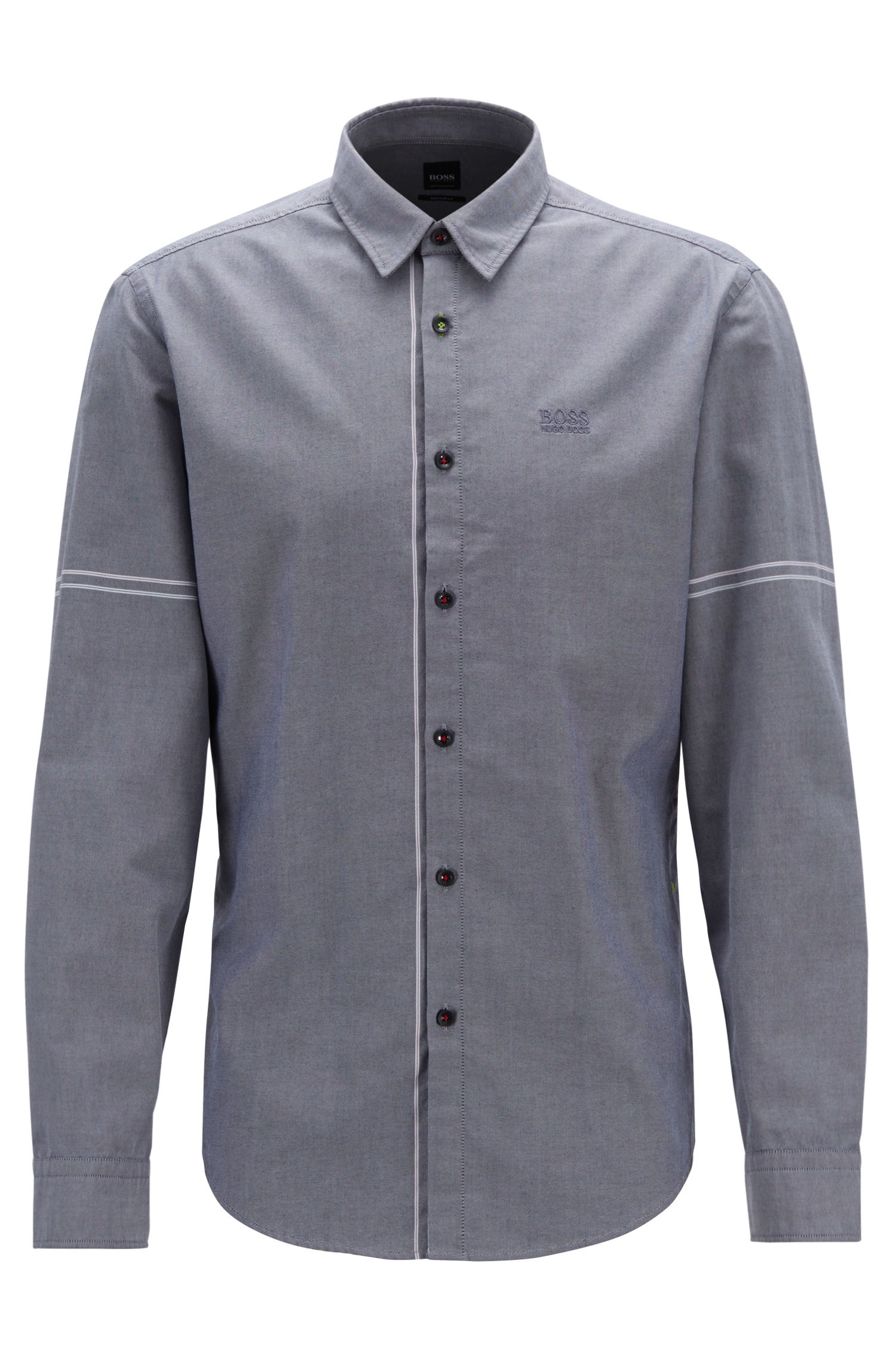 Camicia regular fit in cotone Oxford con righe applicate, Blu
