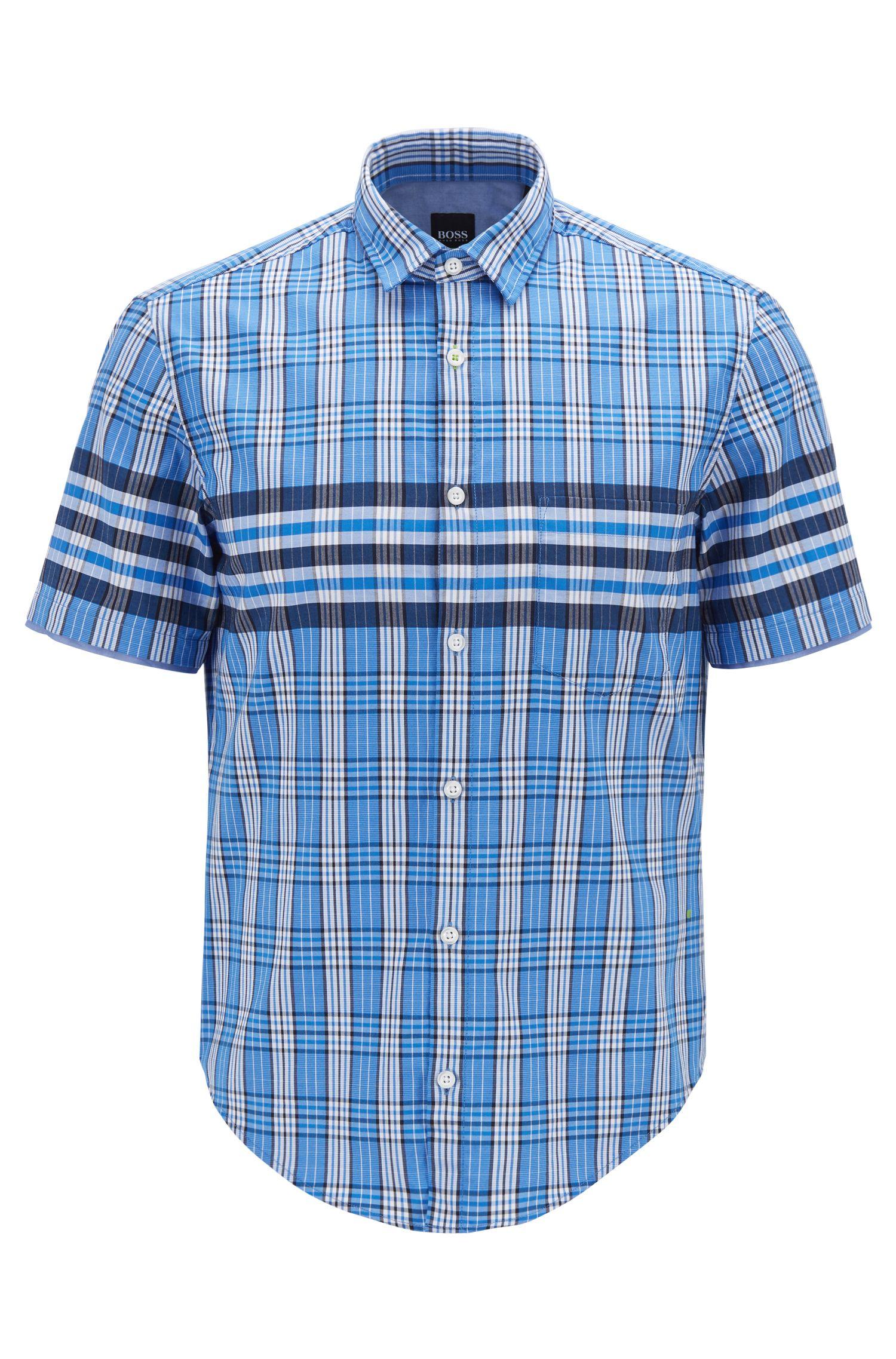 Regular-Fit Hemd aus strukturierter Baumwolle mit Glencheck-Karo, Gemustert