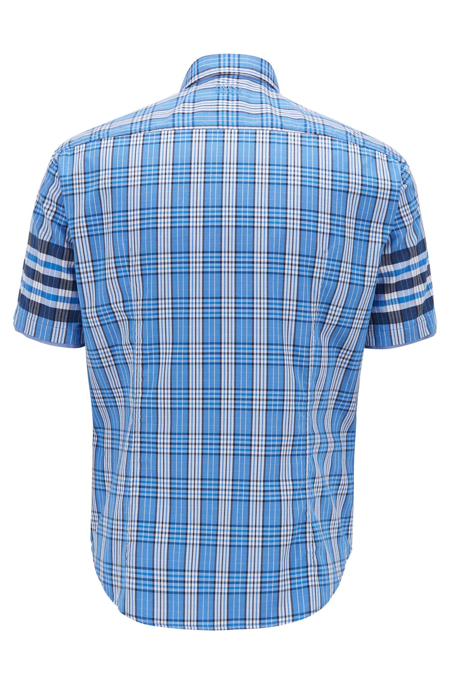 Camisa regular fit en tejido dobby de algodón con cuadros Príncipe de Gales, Fantasía