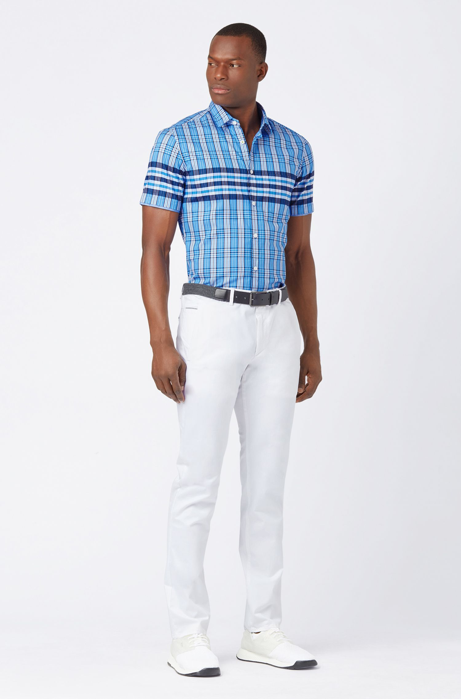 Regular-fit shirt in Glen-checked dobby cotton, Patterned