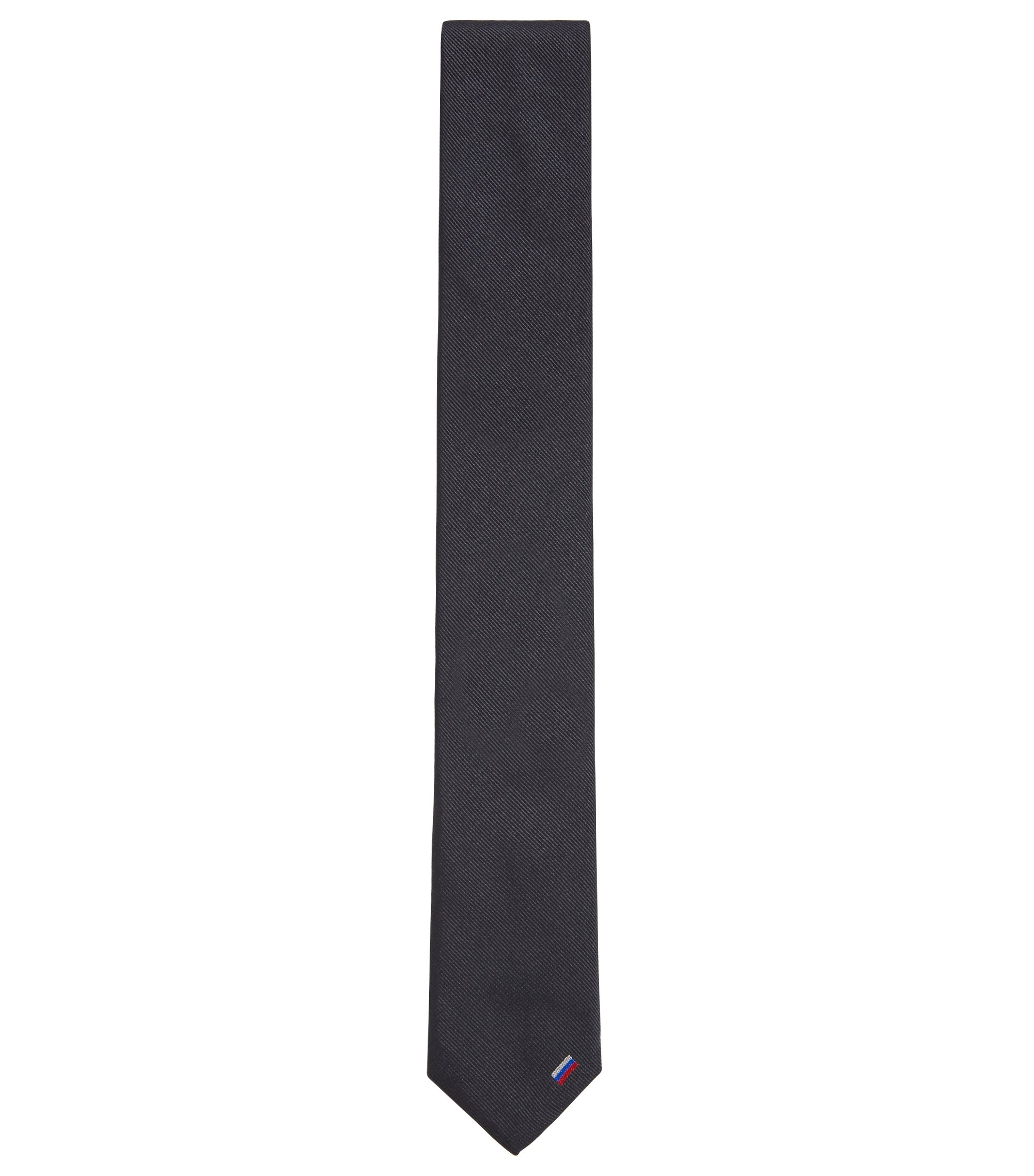 Navy silk tie with country flag detail, Dark Blue