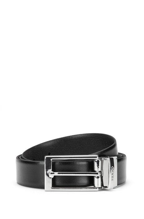 Cintura in pelle liscia con fibbia lucida con logo inciso, Nero