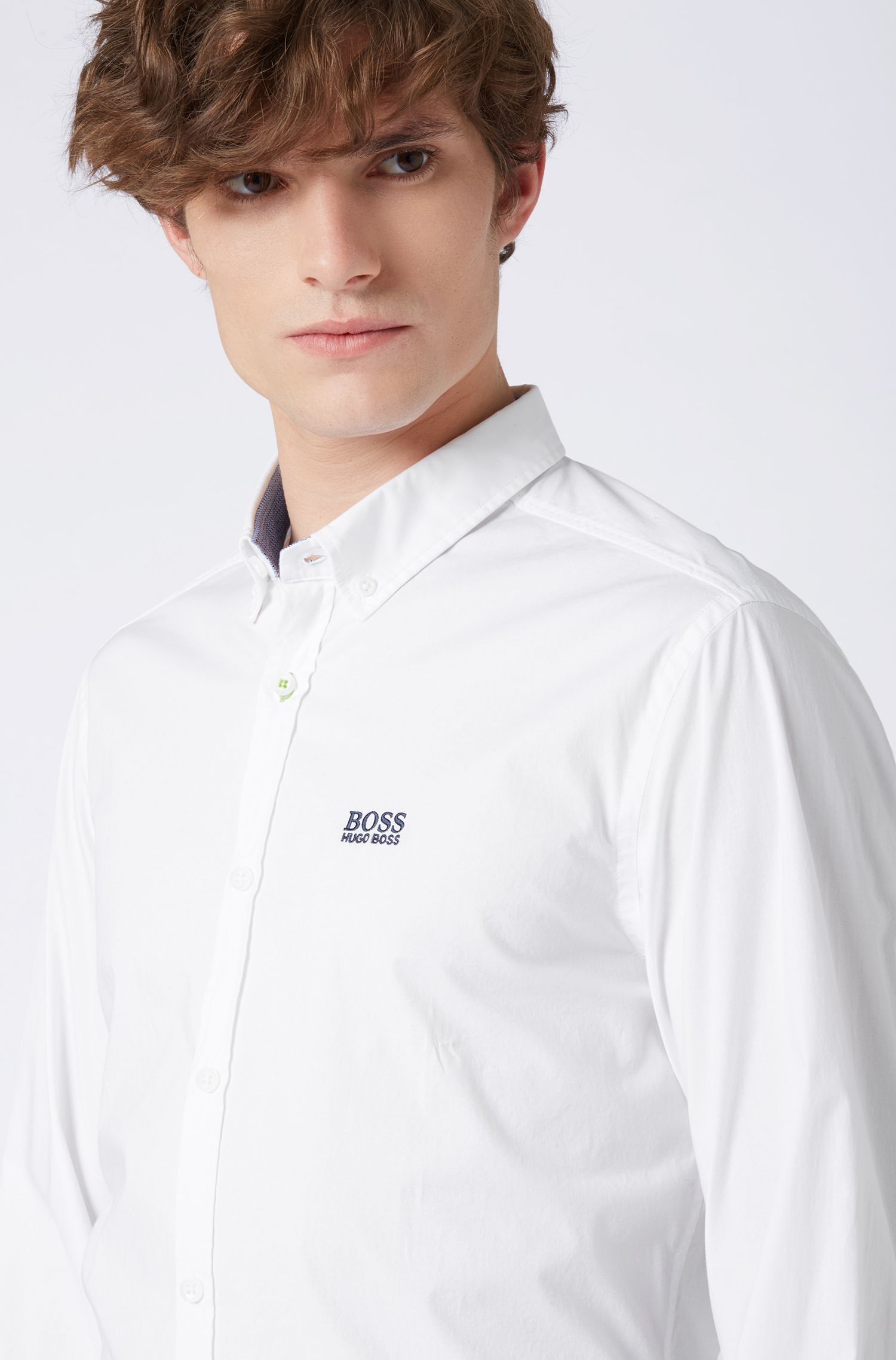 Button-down shirt in stretch cotton with moisture management, White