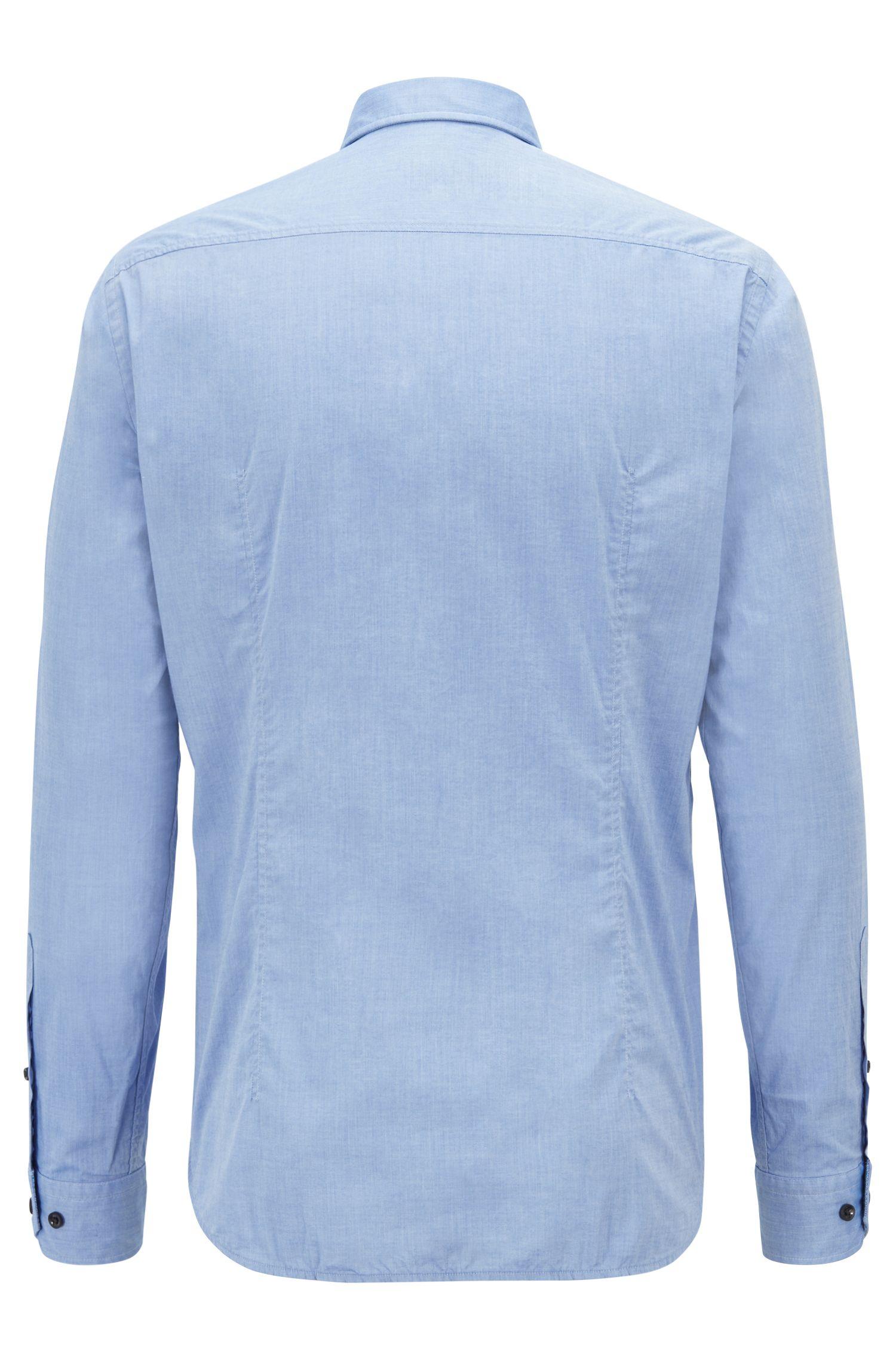 Regular-Fit Hemd aus feuchtigkeitsableitender Stretch-Baumwolle mit Button-Down-Kragen, Blau