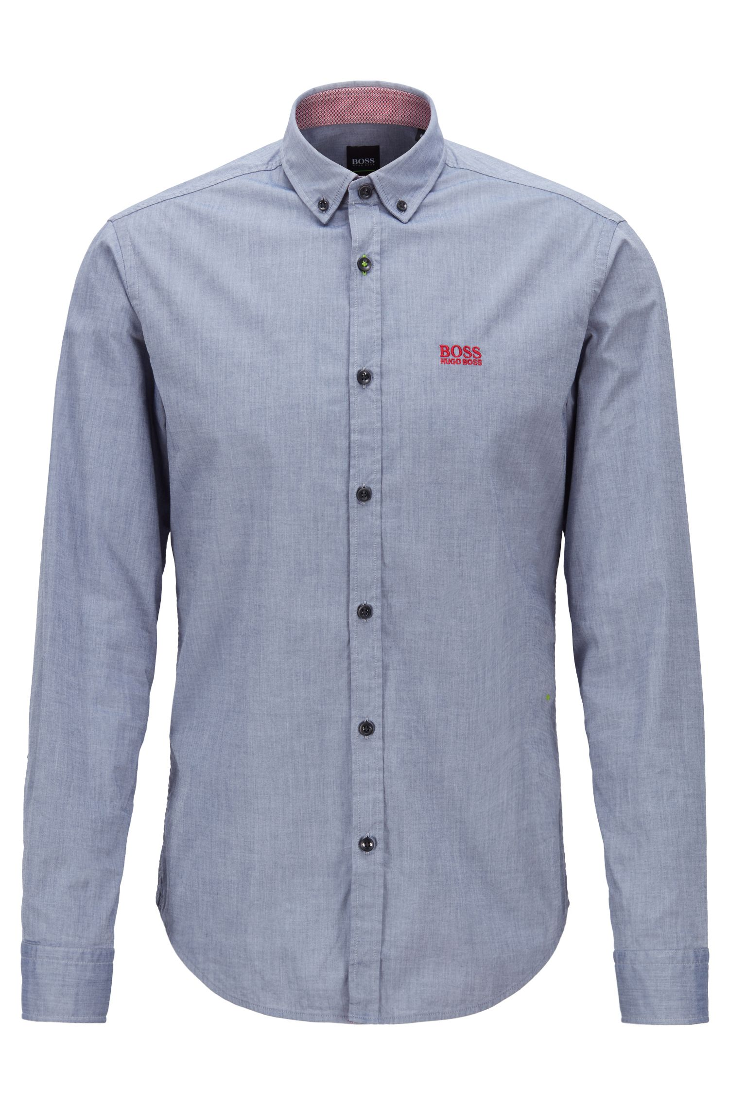 Buttondownoverhemd van stretchkatoen met vochtbeheersing, Blauw