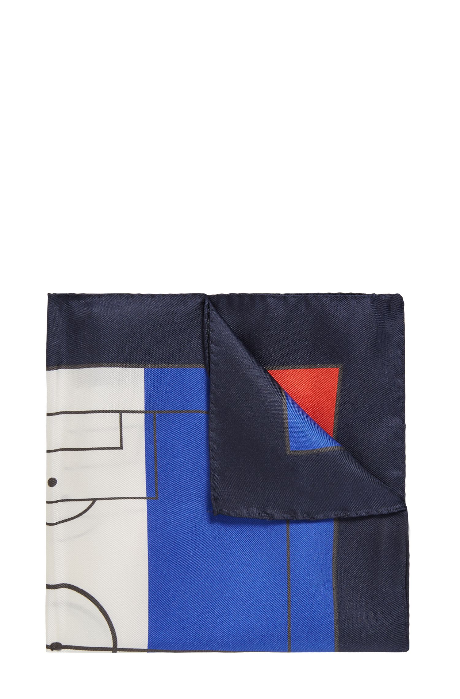 Silk pocket square in national flag colours