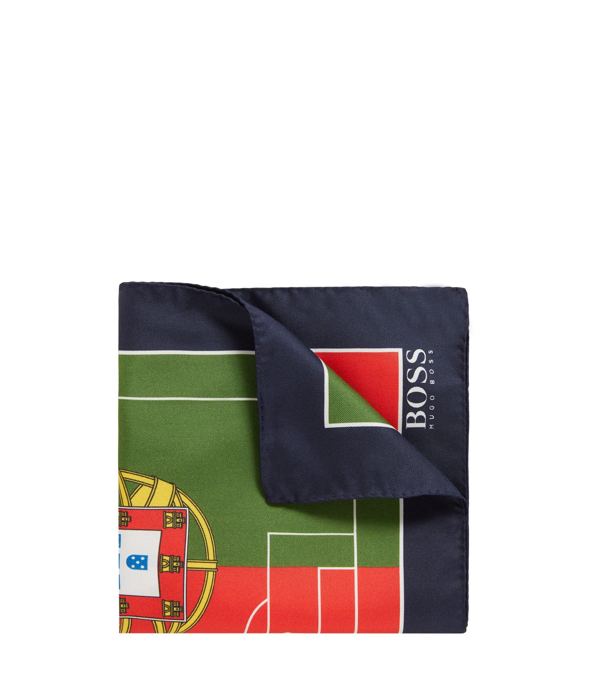 Zijden pochet in de kleuren van de nationale vlag, Donkerblauw