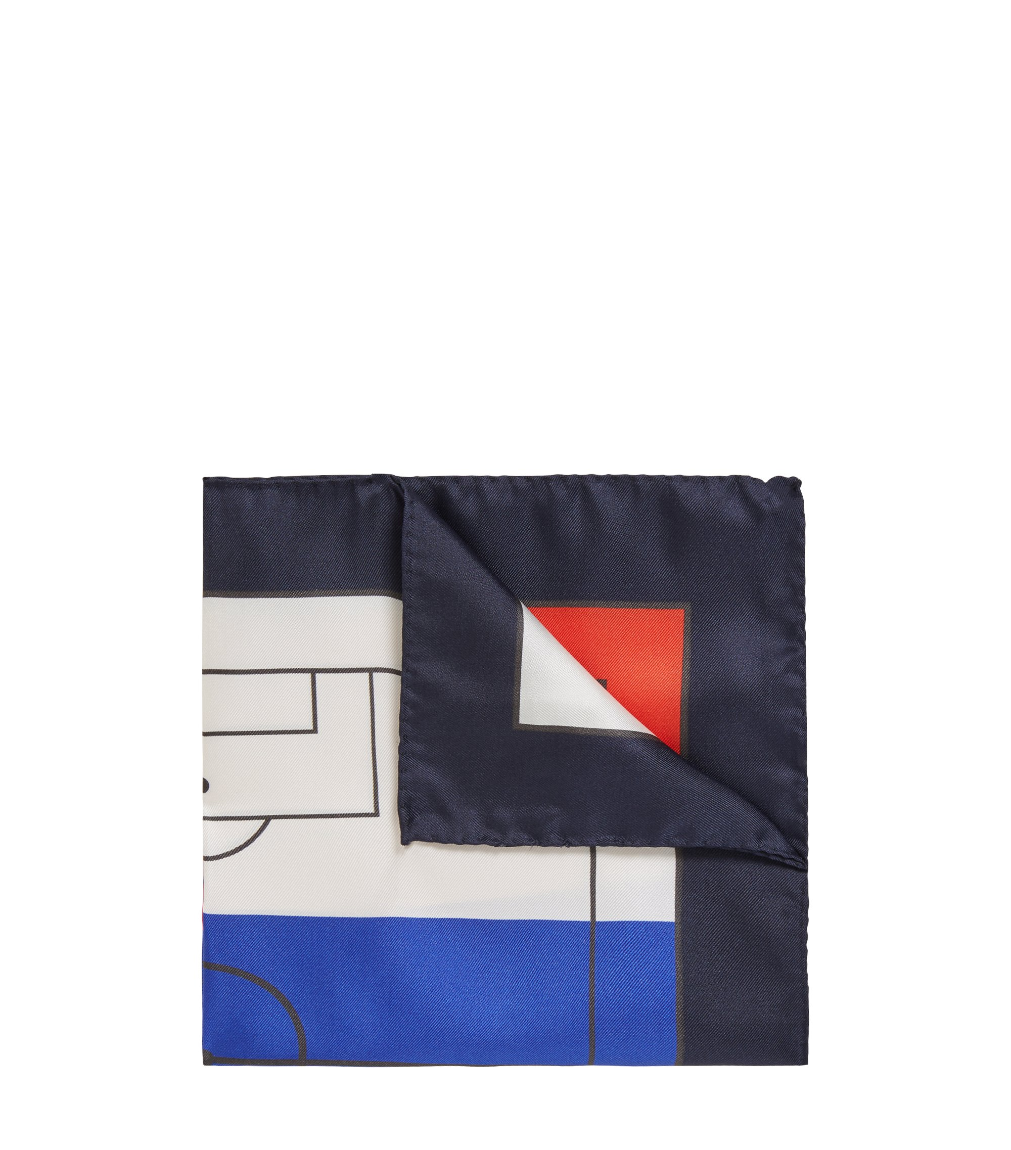 Silk pocket square in national flag colours, Donkerblauw