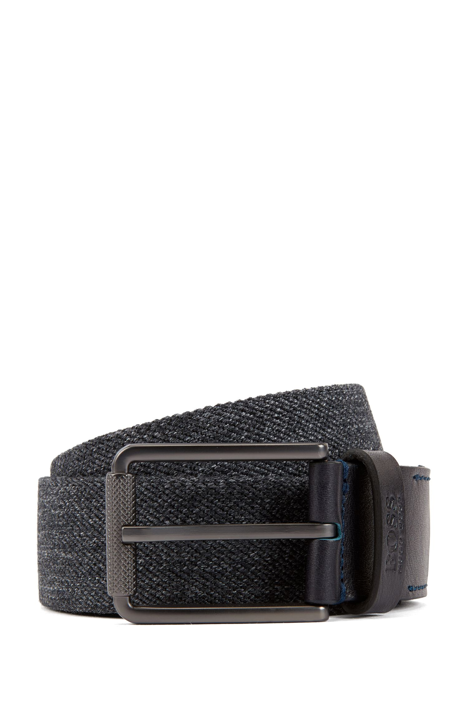 Fabric belt with leather trims and tonal stitching, Grey