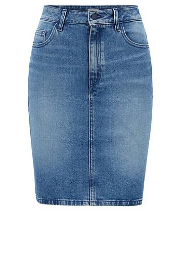女士休闲牛仔短裙,  434_亮蓝色