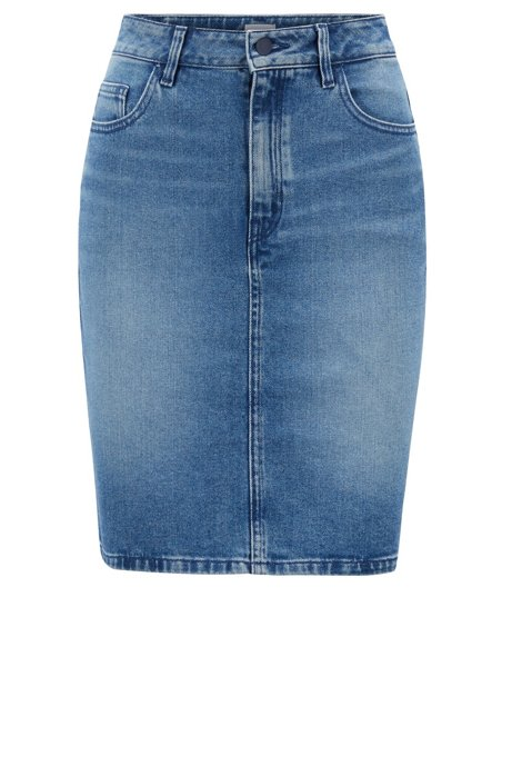 597655dd33 BOSS - Slim-fit mini skirt in mid-washed stretch denim