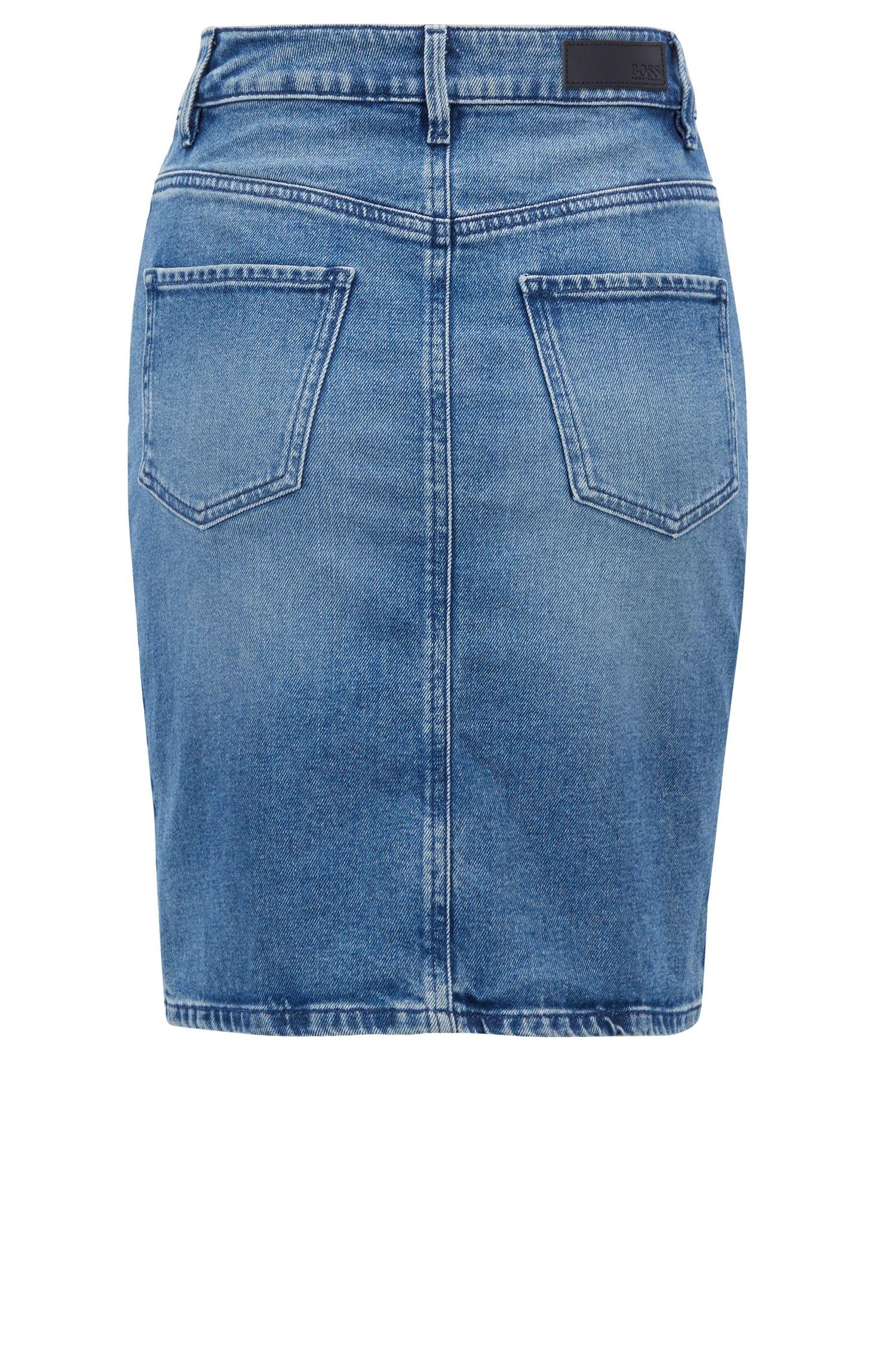 Minirock aus gewaschenem Stretch-Denim, Blau