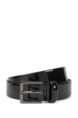 Patent-leather belt with polished gunmetal hardware, Black
