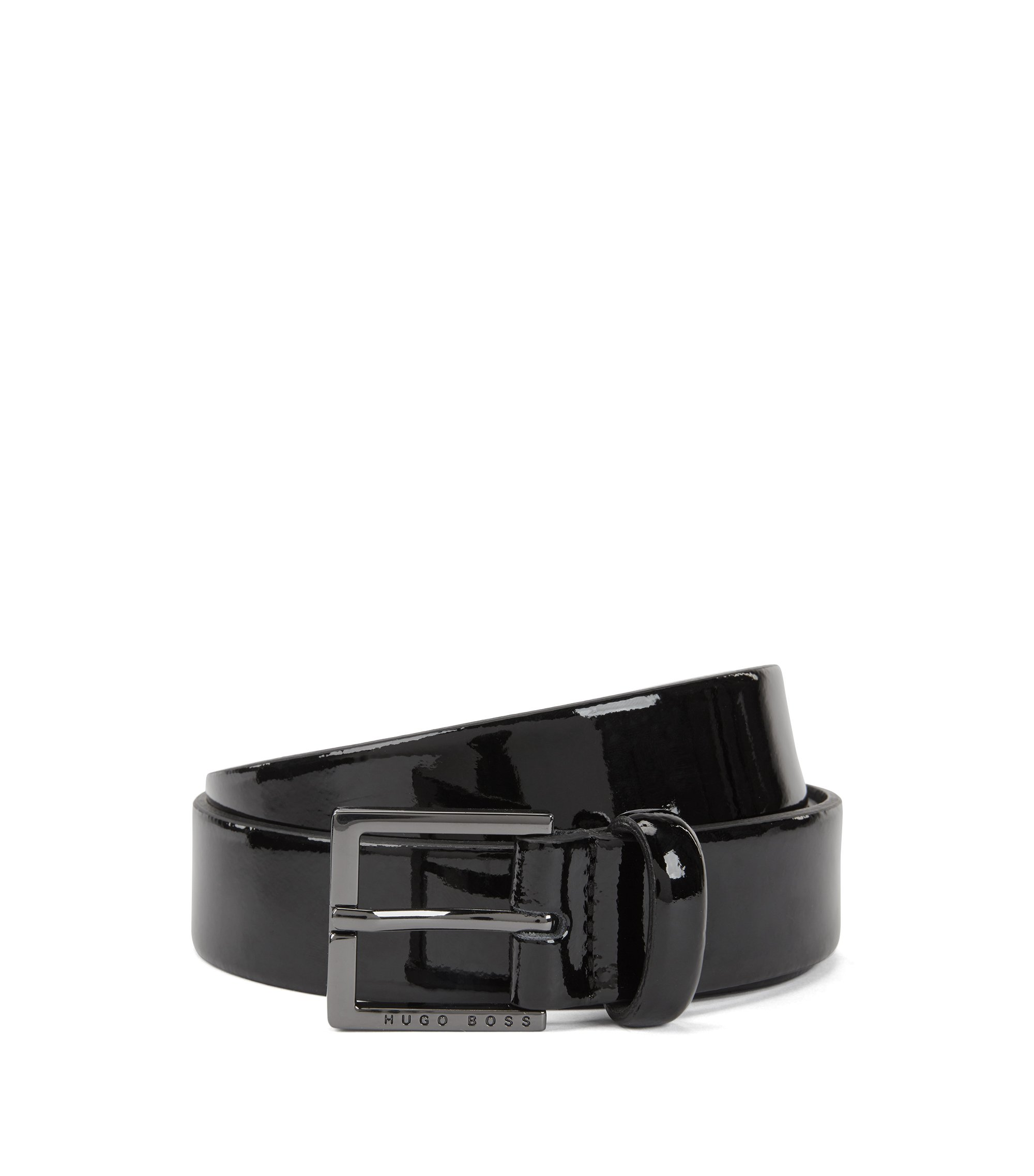 Patent-leather belt with polished gunmetal hardware, Black