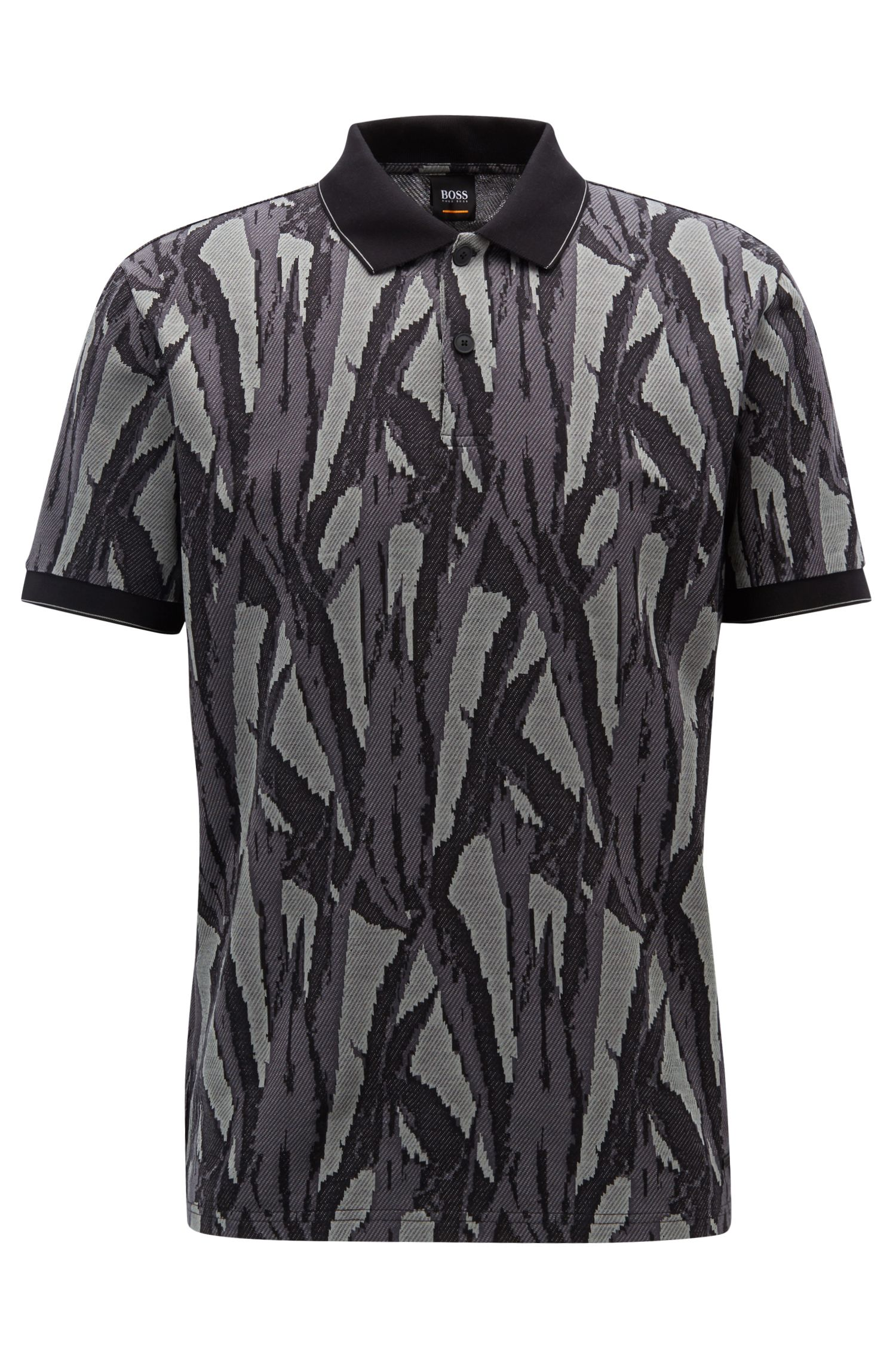Poloshirt aus Baumwolle mit Jacquard-Muster aus der Kollektion, Dunkelgrün