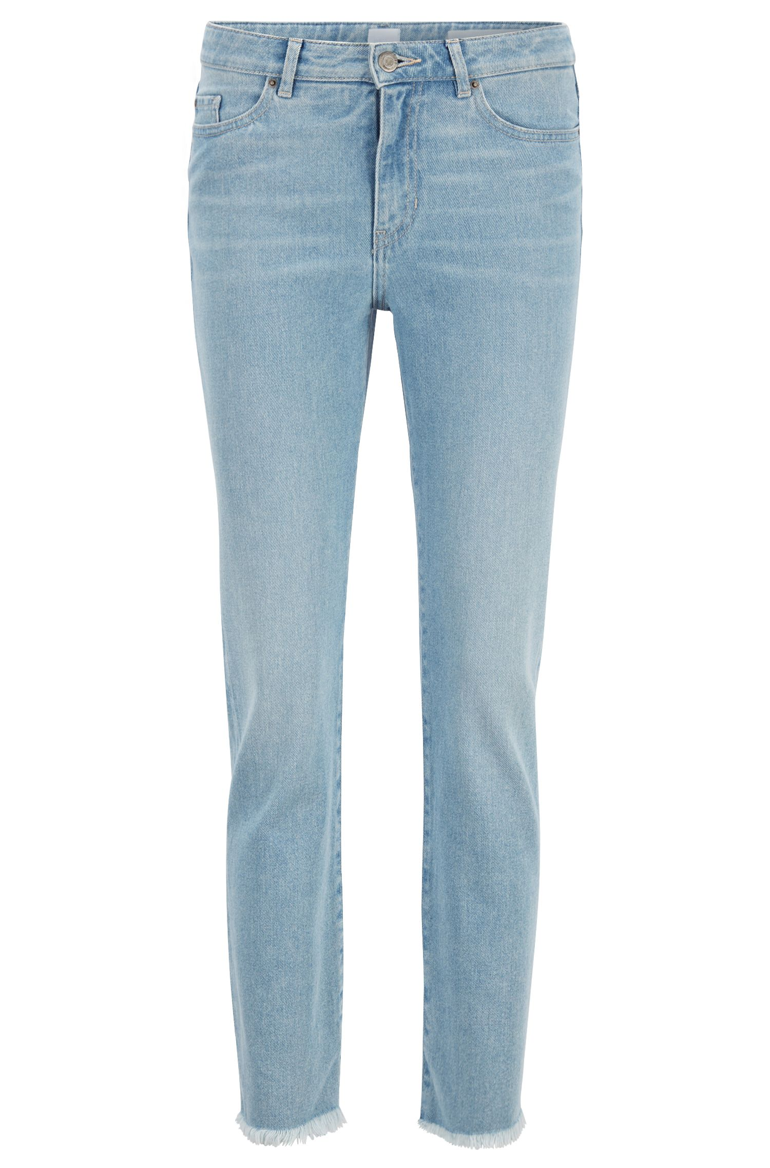 Regular-fit cropped jeans in washed comfort-stretch denim, Turquoise