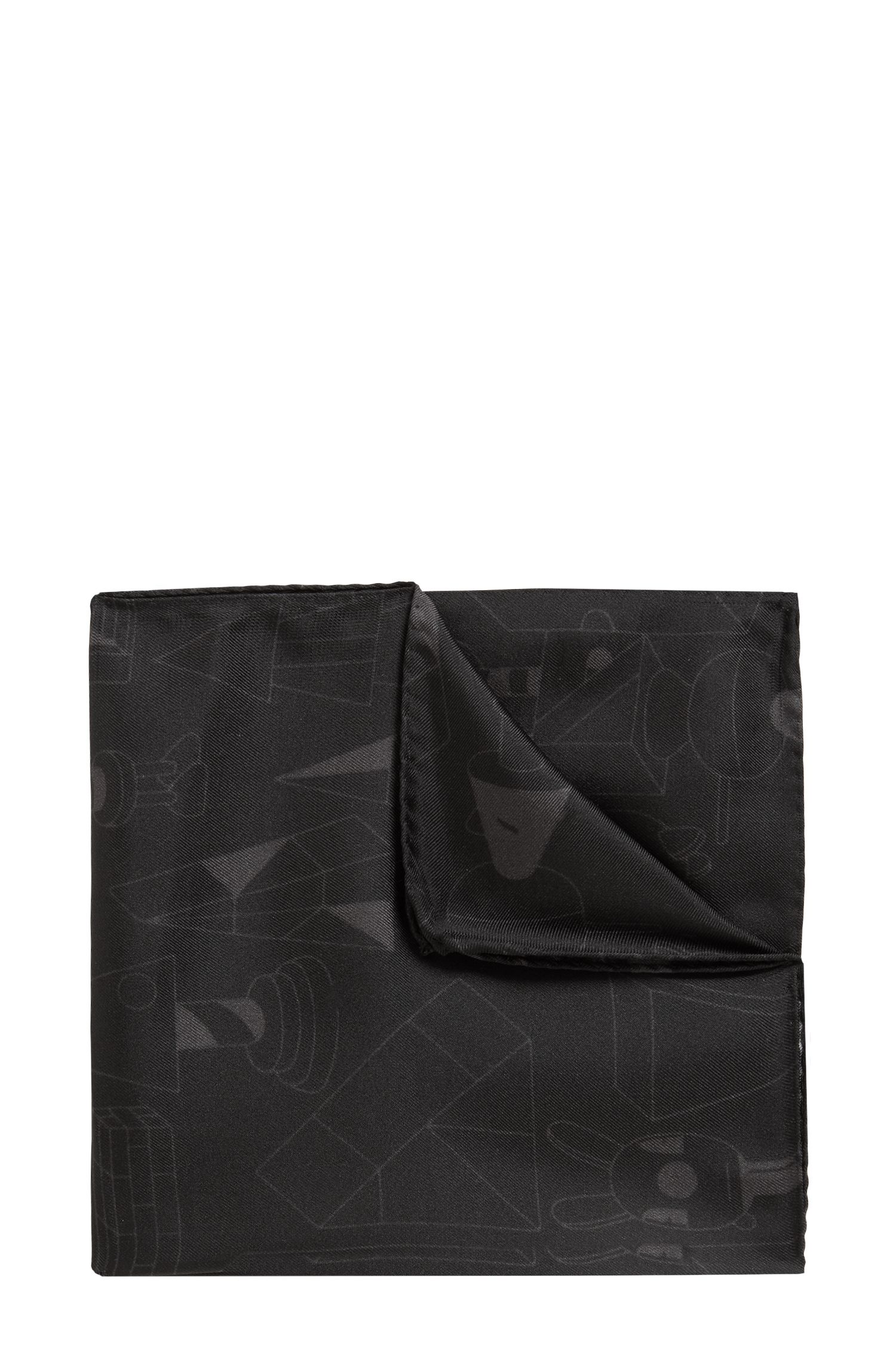 Limited-edition silk pocket square with Jeremyville design, Black