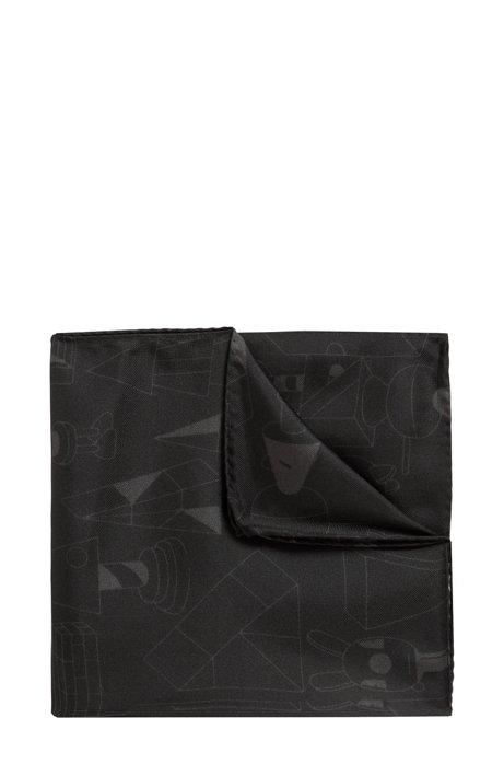 Pochette en soie en édition limitée au design Jeremyville, Noir