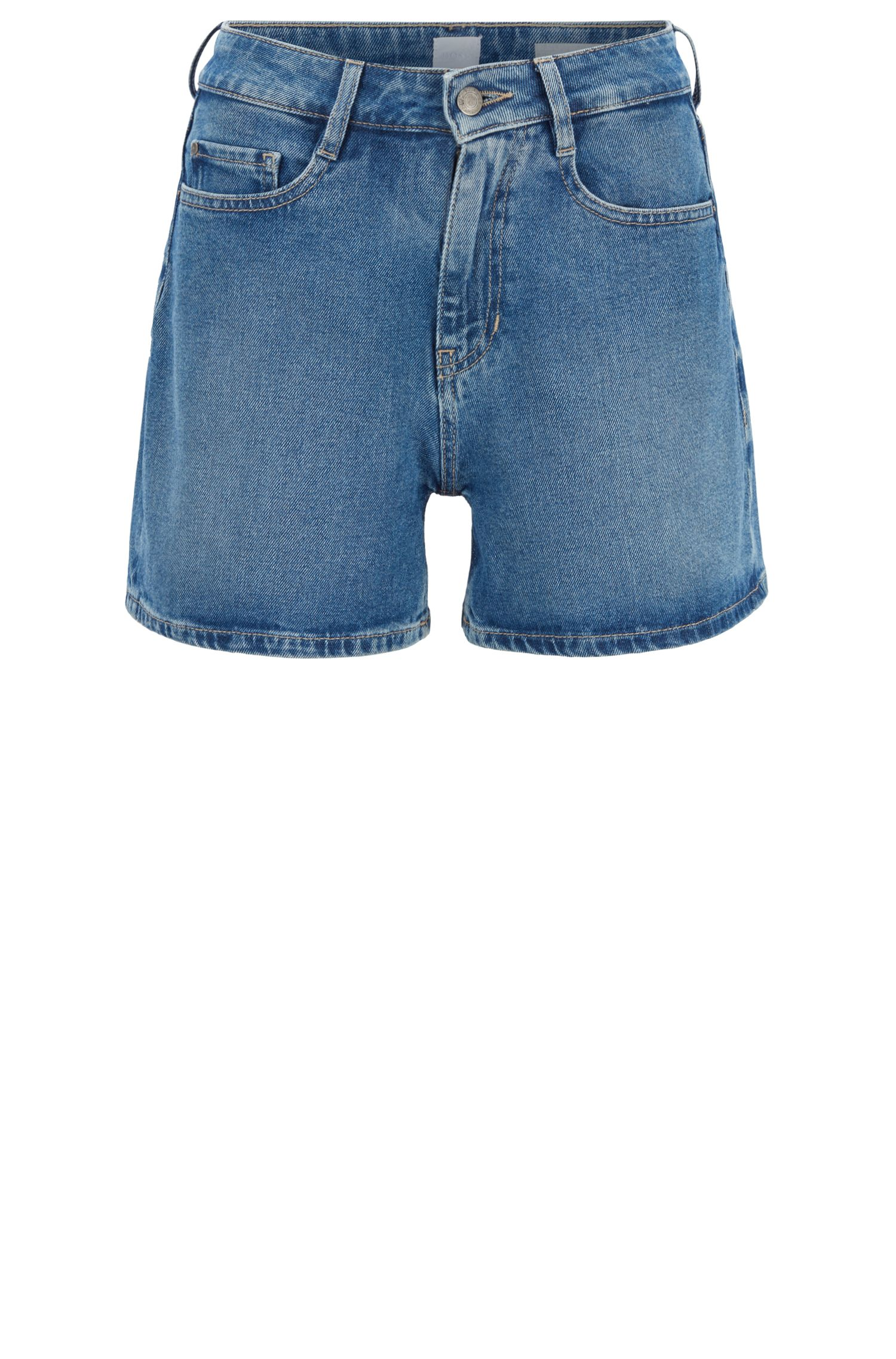 Pantaloncini relaxed fit in comodo denim elasticizzato, Blu