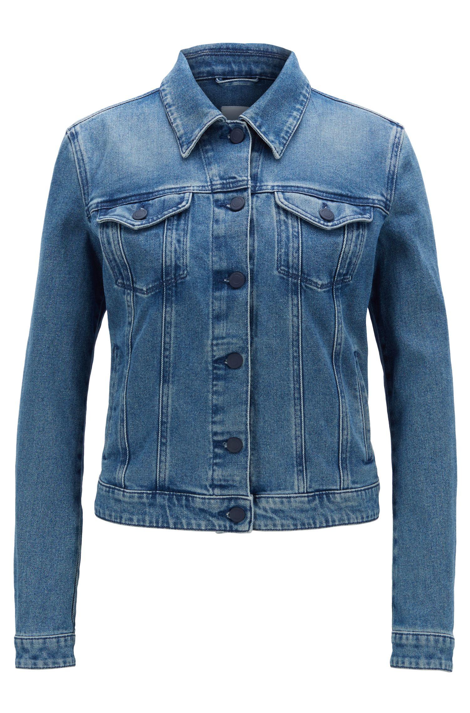 Trucker-style jacket in vintage-blue denim, Blue