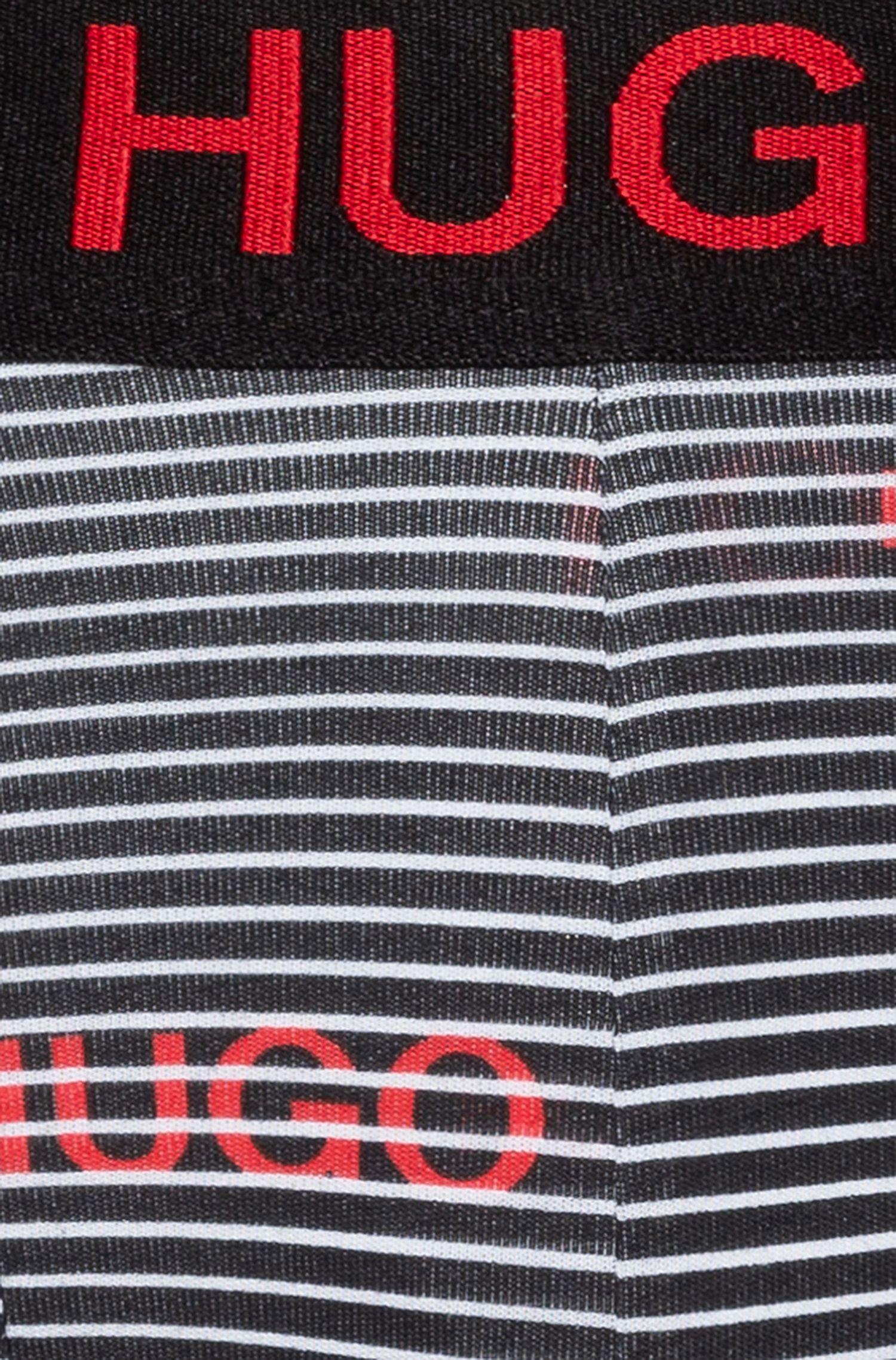 Zweier-Pack Boxershorts aus unifarbener und bedruckter Stretch-Baumwolle, Schwarz