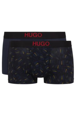 Two-pack of printed and plain stretch-cotton trunks, Blue