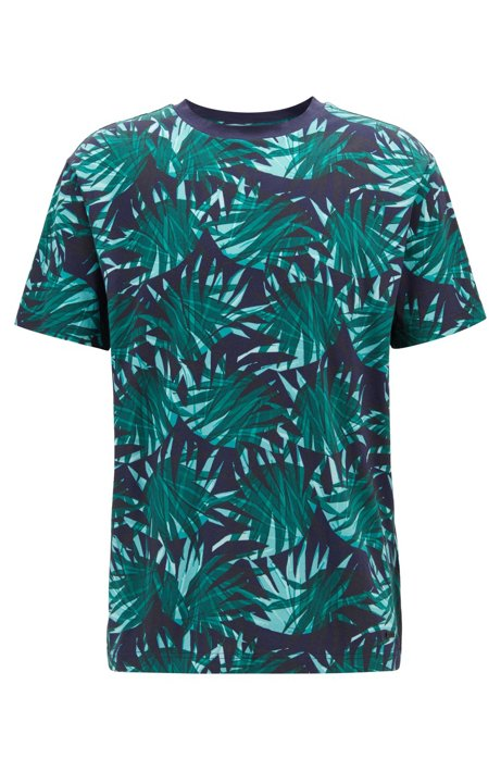 5ac12e1d BOSS - Relaxed-fit T-shirt in cotton with all-over leaf print