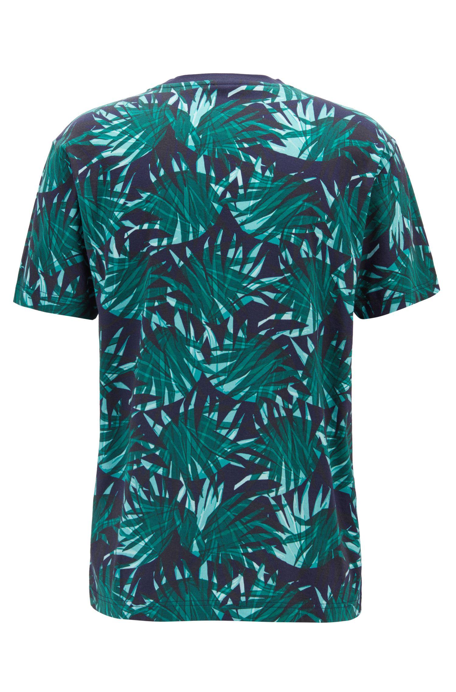 T-Shirt aus Baumwolle mit Blätter-Print, Dunkelblau