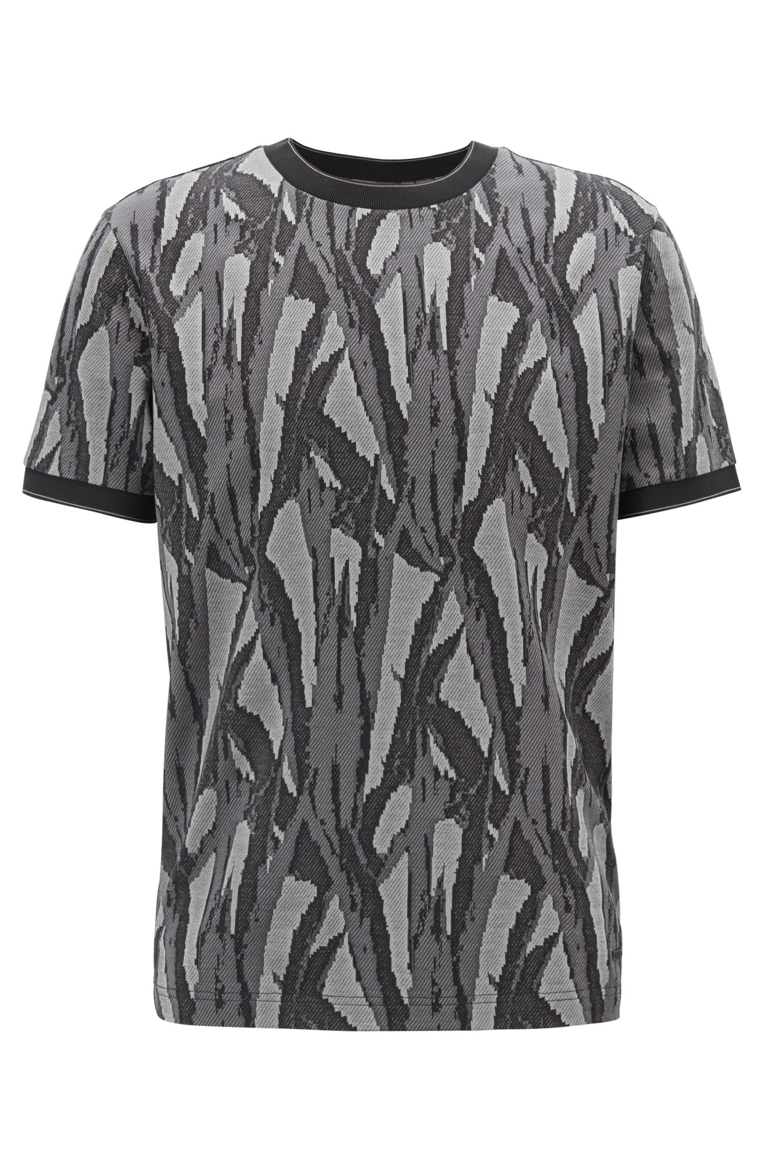 Relaxed-fit T-shirt with jacquard-woven collection pattern, Dark Green