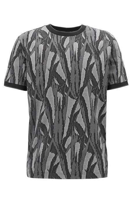 T-Shirt aus Baumwolle mit Jacquard-Muster aus der Kollektion, Dunkelgrün