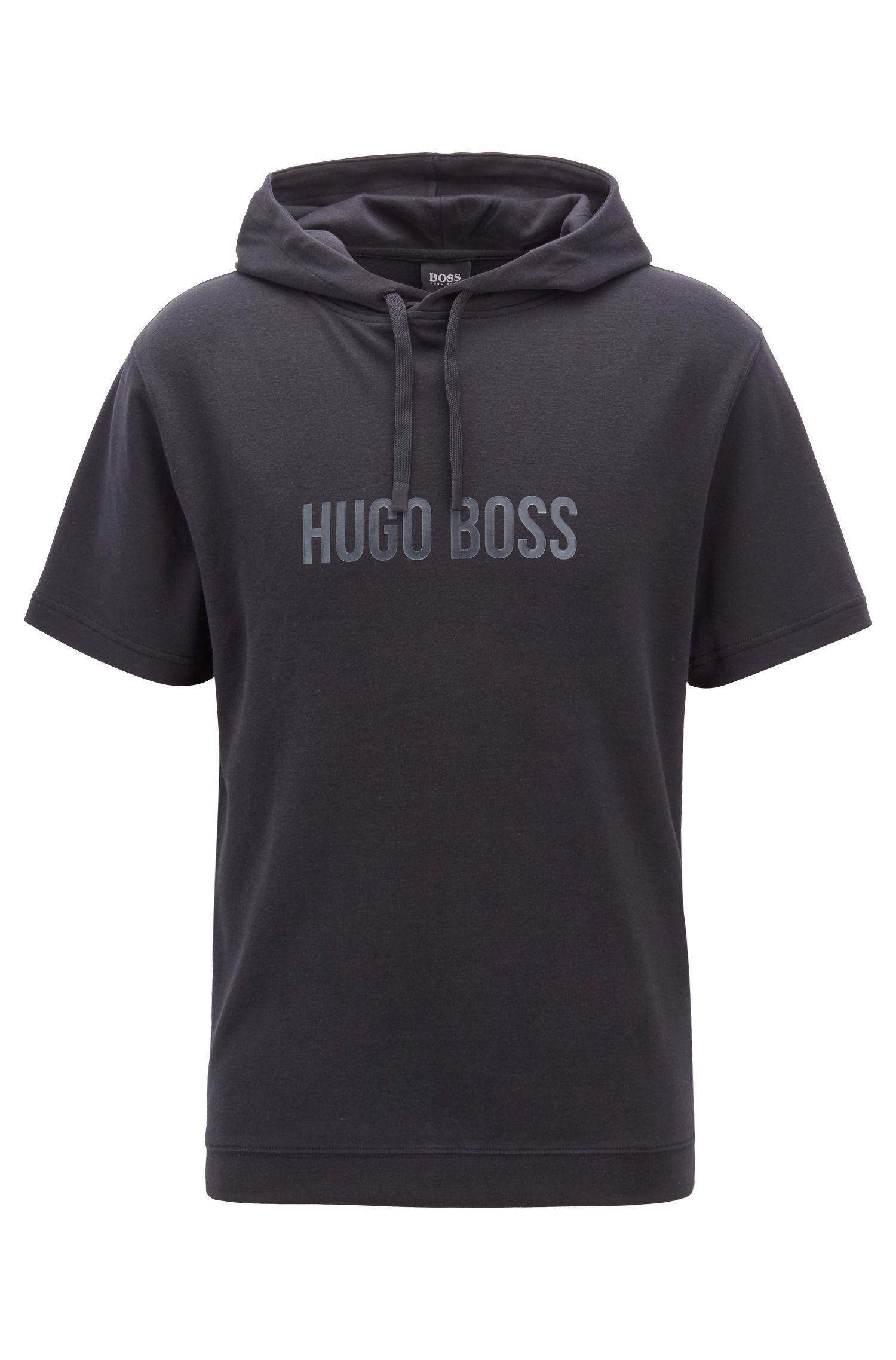 T-shirt d'intérieur à capuche en coton, avec imprimé logo brillant, Noir