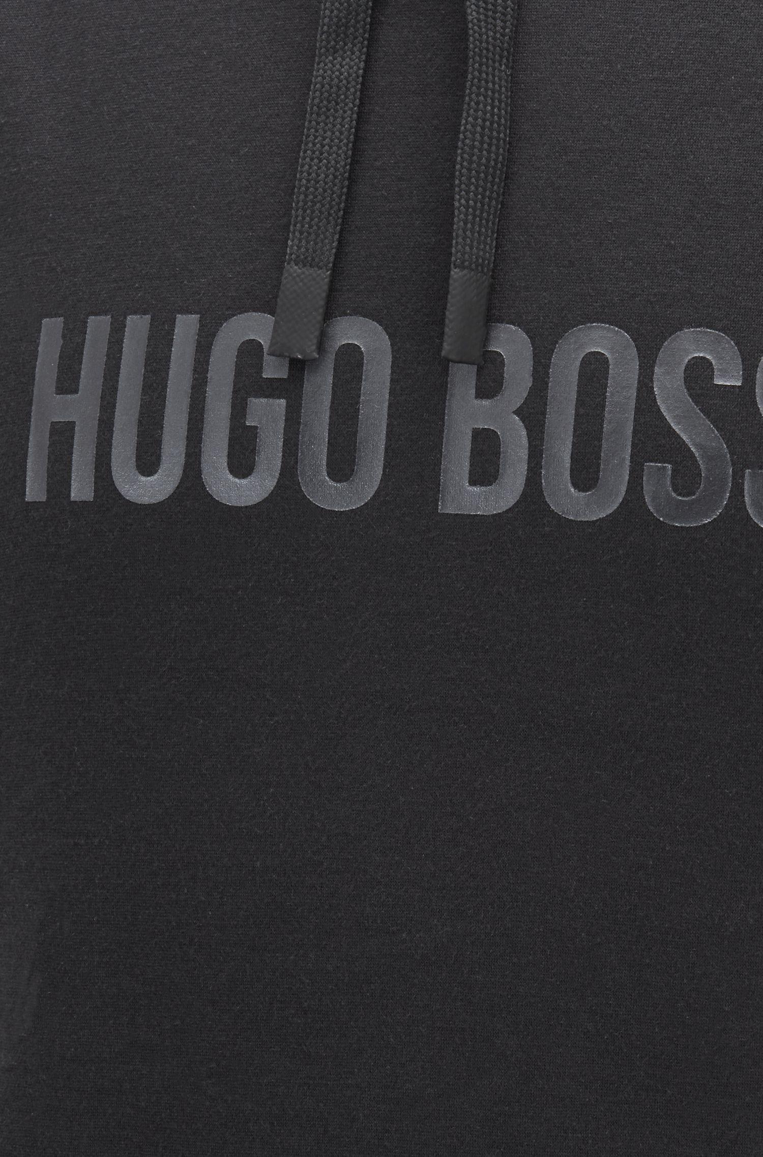 T-shirt loungewear in cotone con cappuccio e logo stampato lucido, Nero