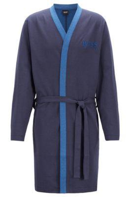 Morgenmantel aus zweiseitiger Baumwolle mit Gürtel, Blau