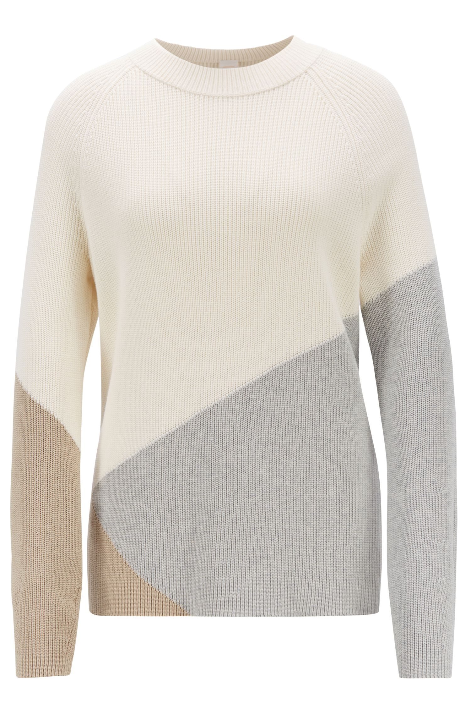 Pull color block Relaxed Fit en coton et soie, Fantaisie