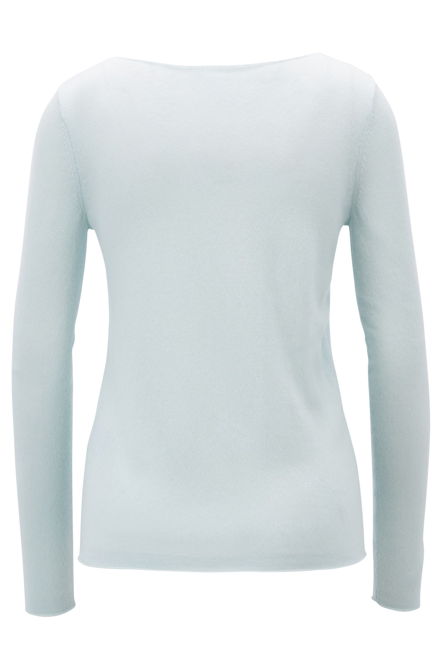 Boat-neck sweater in pure cashmere, Open Blue