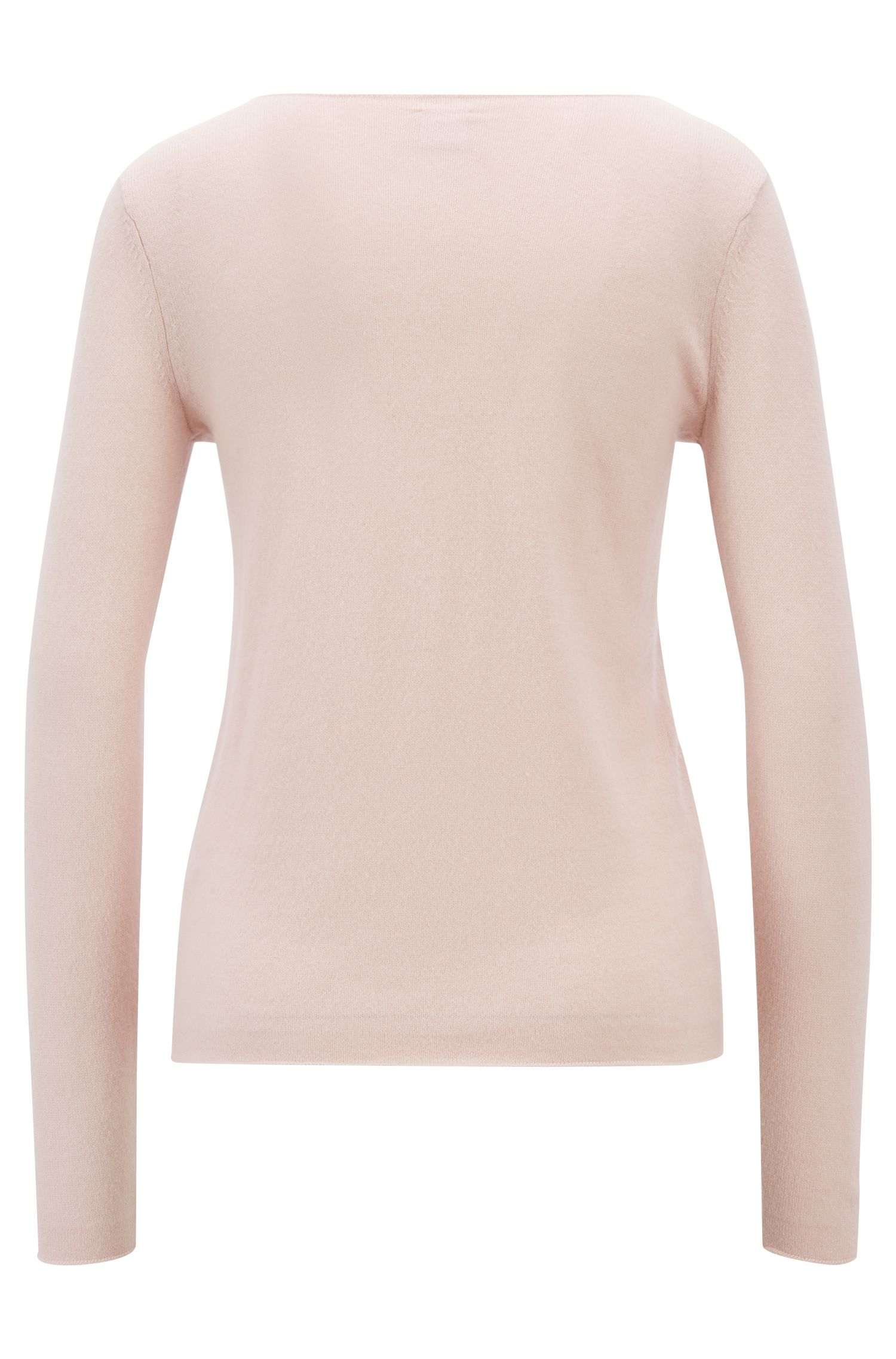 Boat-neck sweater in pure cashmere, light pink