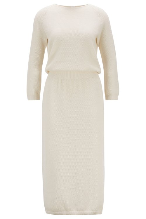 Hugo Boss - Relaxed-fit knitted dress in cotton and silk - 1
