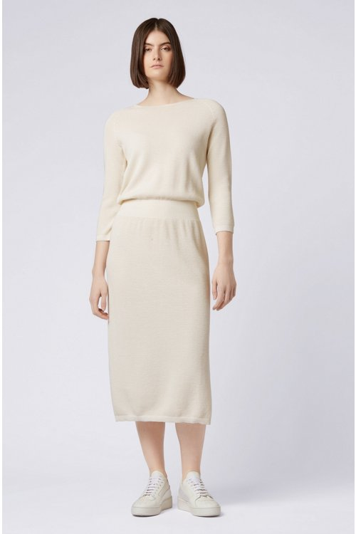 Hugo Boss - Relaxed-fit knitted dress in cotton and silk - 2
