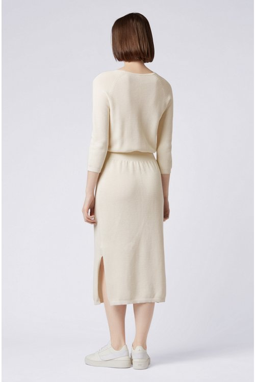 Hugo Boss - Relaxed-fit knitted dress in cotton and silk - 3