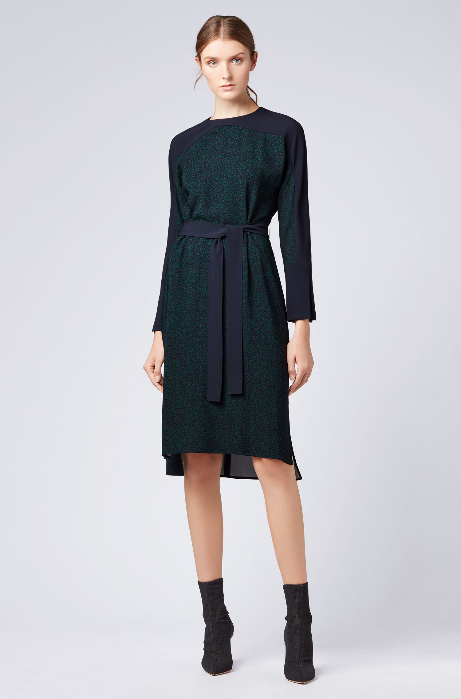 Belted dress in stretch fabric with all-over pattern, Patterned