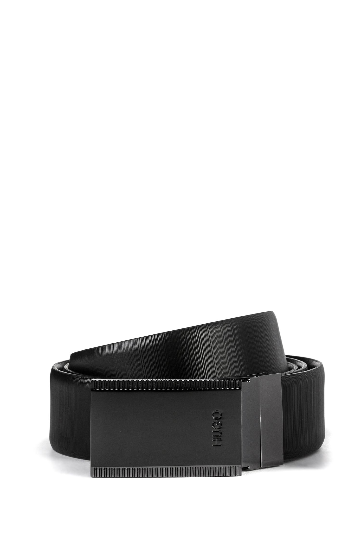 Embossed-leather belt with two buckle options, Black