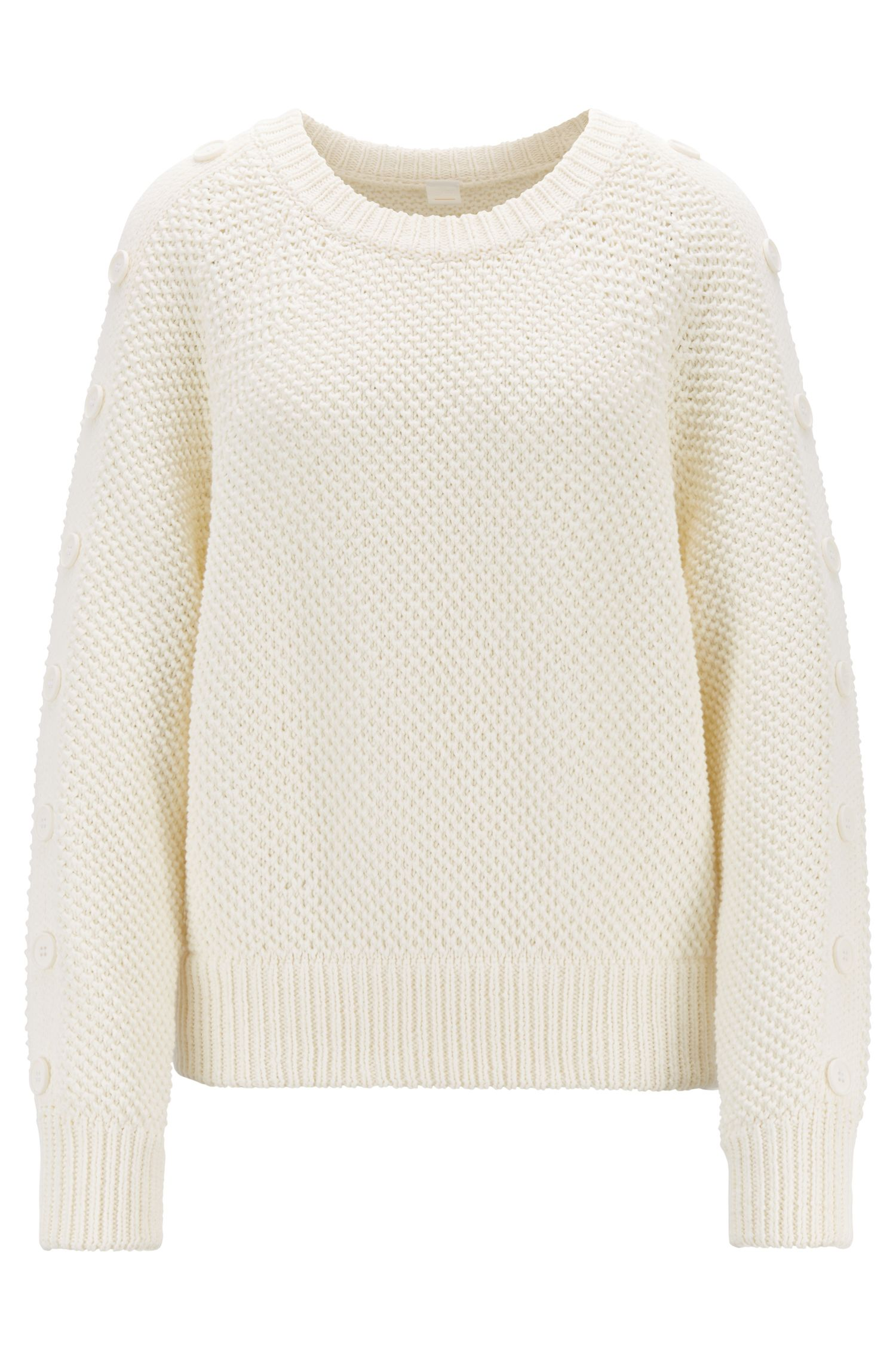 Oversized-fit knitted sweater with button-detail sleeves, Natural
