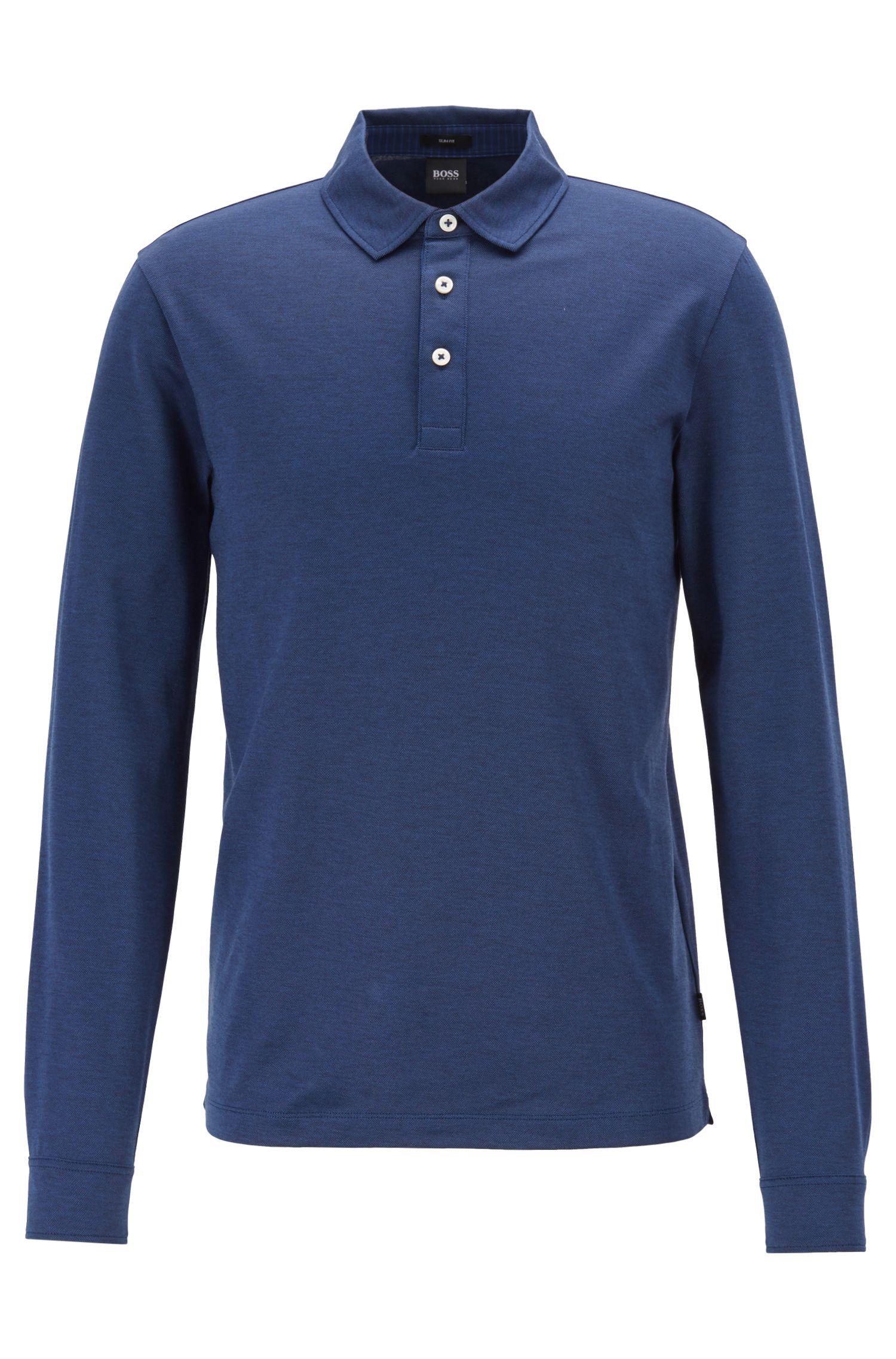 Polo slim fit in cotone oxford con colletto francese, Blu scuro