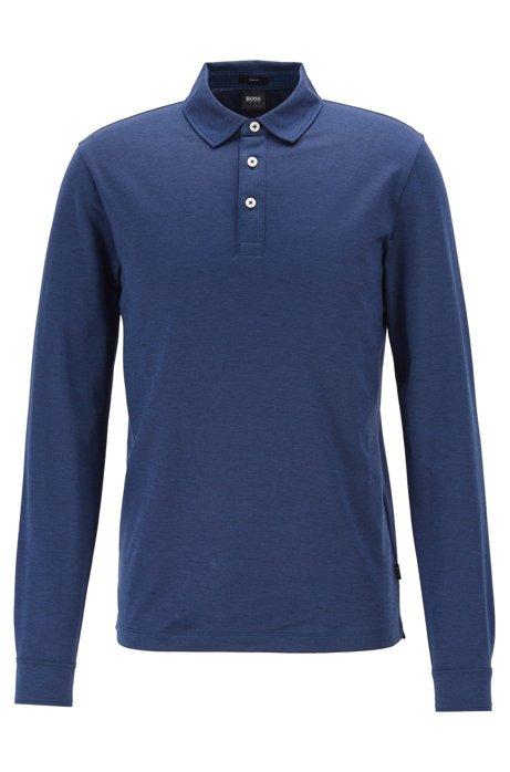Slim-Fit Longsleeve-Poloshirt aus Oxford-Baumwolle mit Haifischkragen, Dunkelblau